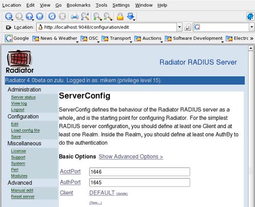 Radiator Radius Server