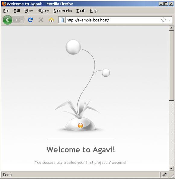 默认的 Agavi 欢迎页面的屏幕截图