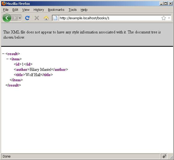 针对单个书籍的 GET 请求的 XML 响应的屏幕截图