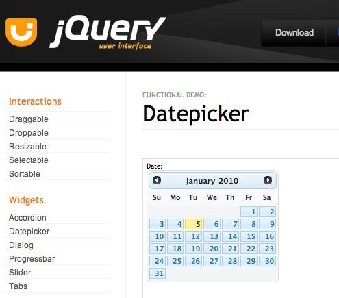 屏幕显示了 datepicker 例子,在 Datepicker 标题下还有一个日历。