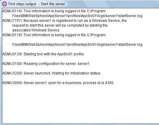 屏幕截图显示 WebSphere Application Server V7 启动时的控制台信息