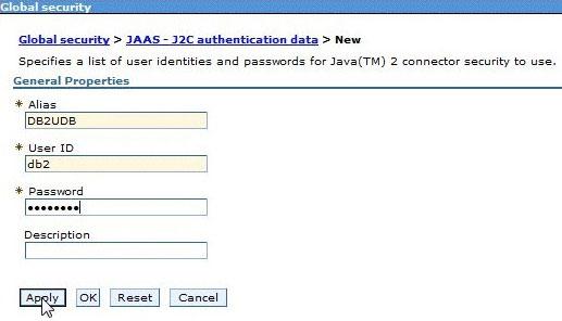 屏幕截图显示用于数据库验证的名称和密码项