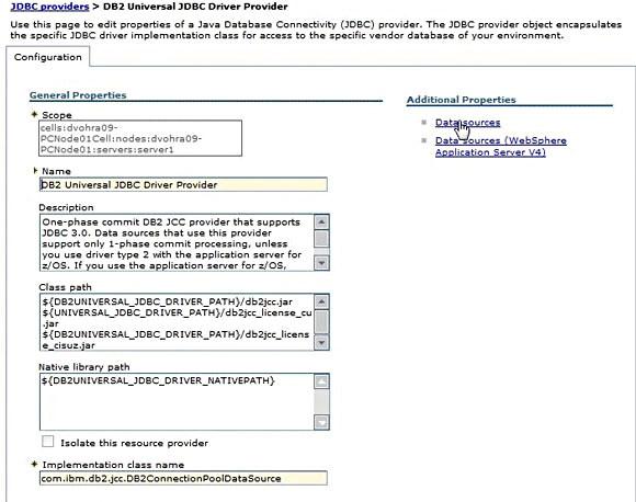 屏幕截图显示定义了 JDBC 数据源后的 WebSphere Application Server V7  Administrative Console