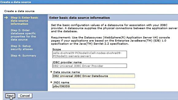 屏幕截图显示配置了一个数据源后的 WebSphere Application Server V7  Administrative Console