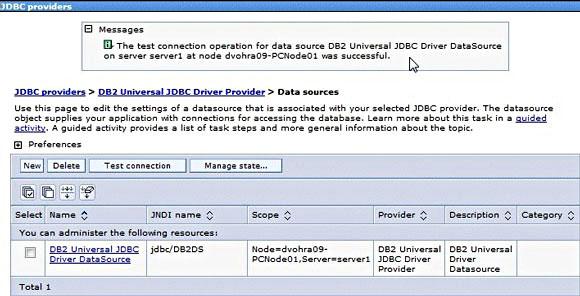 屏幕截图显示测试数据连接性时的 WebSphere Application Server V7  Administrative Console