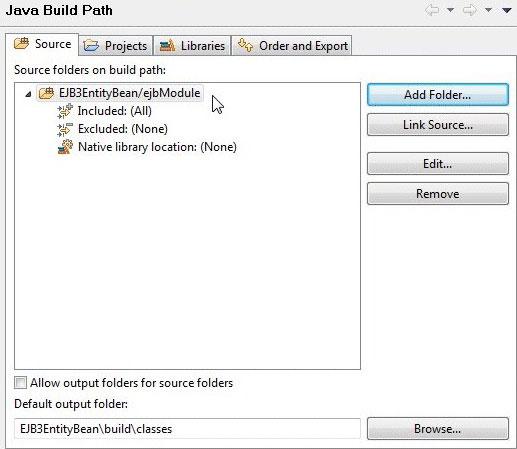 屏幕截图显示添加文件夹 ejbModule 后的 Eclipse Java Build Path 配置