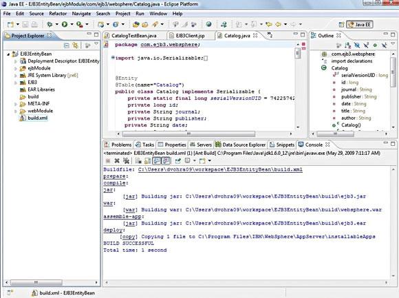 Eclipse 屏幕截图显示 Ant 编译过程的执行