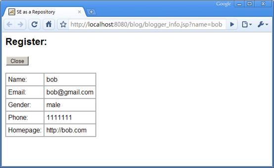 图 7. Blogger 信息查看页面