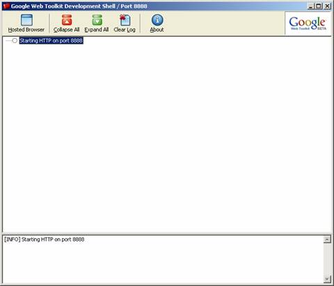 图2  Google Web Toolkit Development Shell运行界面