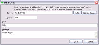 Sending dialog screenshot