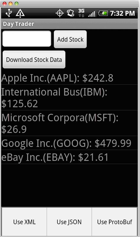 运行中的 Day Trader 应用程序屏幕截图,带有 AAPL、IBM、MSFT 和 GOOG 的股票报价