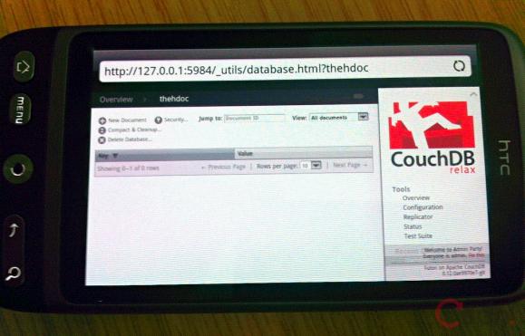 运行在HTC Desire上的CouchDB Futon管理前端与服务器