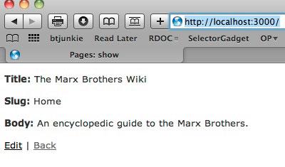 """该屏幕截图显示带有以下文本的页面:""""标题:""""Marx Brothers wiki;""""标头:""""主页;""""正文:"""" Marx Brothers 的百科全书指南。底部显示有 """"编辑"""" 和 """"后一页"""" 的按钮。"""