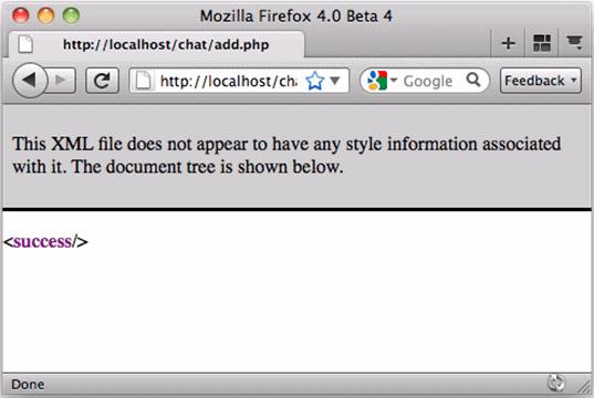 在浏览器中查看的 XML 文件的屏幕截图,带有一个 <success/> 元素