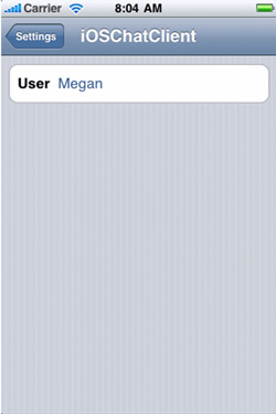 iOSChatClient 设置页面的屏幕截图,User 字段中的值是 'Megan'