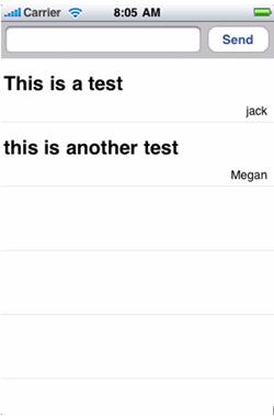 消息文本框、Send 按钮和用户 jack 及 megan 的两条测试消息的屏幕截图